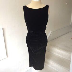Yansi Fugel Velvet Ruched Cocktail Dress EUC